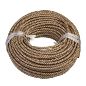 Linsoir Beads 1 Metre 6mm Beige Round Genuine Leather Cord Bolo Braided Leather Cord for Making Bracelets