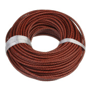 Linsoir Beads 1 Metre 6mm Wine Red Round Genuine Leather Cord Bolo Braided Leather Cord for Making Bracelets