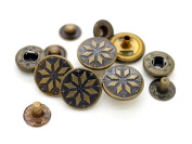 CRAFTMEmore 1.6cm Antique Brass Bohemian Fasteners Popper Snaps Closure Snowflake Rivet Stud Button Leather Decoration Pack of 5