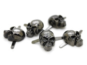 CRAFTMEmore Silver or Gun Black Skull Head Bone Prong Stud Gothic Style Ghost Studs Leather Craft Decorations Pack of 10
