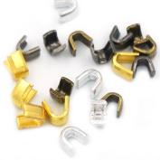Bluemoona 50 Pcs - #3 Brass Zipper Stoper Top Stops Bottom Rescue Repair Set
