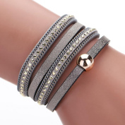 AutumnFall Women Bohemian Bracelet Woven Braided Handmade Wrap Cuff Magnetic Clasp