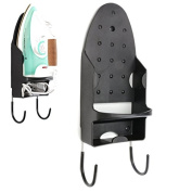 Katoot@ Ironing Holder with Two Hooks Board Rack Hotel Storage for Door Bathroom Bedroom Hang Towels Laundry New Black White