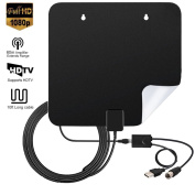 60Miles Amplified TV Antenna Indoor - Hottly Upgraded Version Digital HDTV Antenna with Detachable Amplifier Signal Booster, 1080P VHF UHF High Reception Long Range with 3m Coaxial Cable