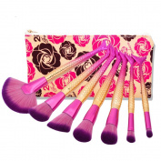 Yocitoy Mermaid Makeup Brush Set + Travel Pouch Professional Kabuki Cosmetic Foundation Blending Eyeliner Face Powder Contour Cream Make up Fish Tail Brush Kit