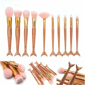 Rose Gold Mermaid Makeup Brushes Eyebrow Blending Foundation Cosmetic Make Up Fish Brush