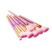 Iskas 7pcs Makeup Brushes Pink Honeycomb Handle Make Up Brush Set Soft Bristles Foundation Blush Beauty Kits Concealer Contour Kabuki Cosmetic Tools