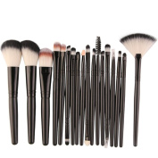 Glorrt 18 pcs Cosmetics Foundation Blending Blush Eyeliner Face Powder Brush Makeup Brush Kit