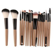 Glorrt 18 pcs Makeup Brush Set Cosmetics Foundation Blending Blush Eyeliner Concealer Face Powder Brush