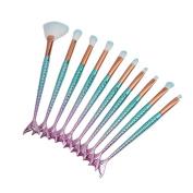 VWH Makeup Brushes Set Mermaid Cosmetic Concealer Foundation Eyebrow Eyeliner Blush Brush Sets Kits, 10pcs/ pack