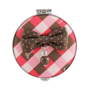 Jacki Design International JBD22912CO Retro Plaid Round Compact Mirror44; Coral