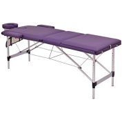 Purple 180cm L Portable Massage Table Heavy Duty Aluminium Frame Salon SPA Chair Beauty Height Adjustable Table Tattoo Parlour Facial Bed Multi Purpose Professional Therapists Chiropractors Home Therapy