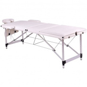 White 180cm L Portable Massage Table Heavy Duty Aluminium Frame Salon SPA Chair Beauty Height Adjustable Table Tattoo Parlour Facial Bed Multi Purpose Professional Therapists Chiropractors Home Therapy