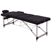 Black 180cm L Portable Massage Table Heavy Duty Aluminium Frame Salon SPA Chair Beauty Height Adjustable Table Tattoo Parlour Facial Bed Multi Purpose Professional Therapists Chiropractors Home Therapy