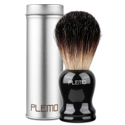Plemo 100% Badger Hair Shaving Brush, High-Gloss Wood Handle, Reliable Bristle Inserted 2.5 cm/0.98 Inch Deep In Handle, Easy Lather For A Wet Shave