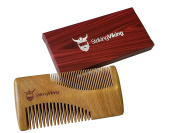 Sandalwood Comb With Fine & Coarse Teeth - Rectangular Anti-Static Wood Comb For Beards & Head Hair