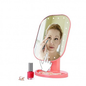 Healthcom Lighted Makeup Mirror LED Travel Vanity Mirror LED Tabletop Cosmetic Vanity Mirror with Oragnizer Stand,Pink
