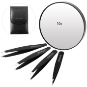 ETEREAUTY Tweezers Set 4 Pieces and 10x Magnification Mirror with Suction Cup