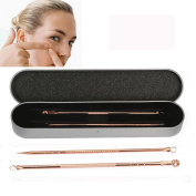 Wqueen 2Pcs Rose Gold Pimple Blemish Blackhead Acne Extractor Remover Tool