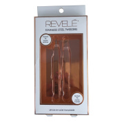 REVELE Rose Gold Colour Stainless Steel Pointed Tweezers and Slanted Tweezers Set