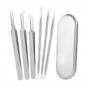 GZQ Blackhead Remover Acne Pimple Comedone Extractor Curved Whitehead Tweezers Tool Kit Treatment for Facial Skin Care Protect with Silver Metal Case