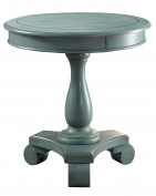 Furniture of America Yanez Round Pedestal Base Accent Table Transitional Style - Antique Teal
