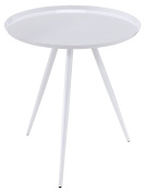 Furniture of America Tarri Full Metal Round Accent Table Transitional Style - White