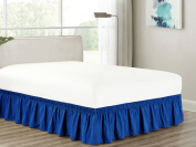 Heavy Duty Elastic Wrap-Around 46cm Drop Dust Ruffled Bed Skirt Cover Blue Queen