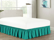 Heavy Duty Elastic Wrap-Around 46cm Drop Dust Ruffled Bed Skirt Cover Teal Blue-Green Turquoise Queen