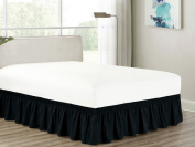 Heavy Duty Elastic Wrap-Around 46cm Drop Dust Ruffled Bed Skirt Cover Black King