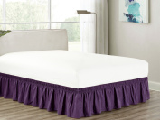 Heavy Duty Elastic Wrap-Around 46cm Drop Dust Ruffled Bed Skirt Cover Purple King