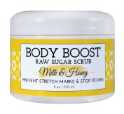 Body Boost Milk & Honey Sugar Scrub 240ml- Pregnancy & Nursing Safe Skin Care