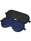 Mudder Silk Sleep Mask Blindfold Eye Cover Mask for Sleeping Travel with Strap, 2 Pieces