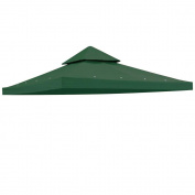 Yescom 3.7m x 3.7m Gazebo Patio Canopy Top Replacement 2 Tier 200g/sqm UV30+ Outdoor Garden Green Cover