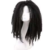 ALIBALLY 50cm Long Wavy Wigs For Women 1B Synthetic Wig Long Kinky Afro Curl Heat Resistant Fibre Layered Black Hair Wig