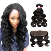 Fabeauty Brazilian Body Wave Hair 3 Bundles with Lace Frontal Closure 13X4 Ear To Ear with Baby Hair 7A Unprocessed Virgin Human Hair Extensions Frontal Lace Closure
