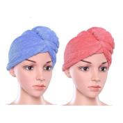 Hair Turban Towel Twist Wrap Fast Drying Absorbent Microfiber Dry Hair Cap for Bath Shower, Spa 2 Pack