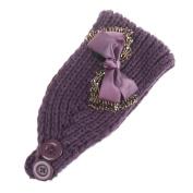 Elaco Women Bowknot Knitting Headband Elastic Handmade Keep Warm Hair Band Turban