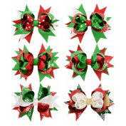 Coobbar 6pcs 11cm Christmas Bow Knot Hair Pins Handmade Hair Accessories for Christmas Day,Celebration