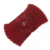 Elaco Women Hair ball Knitting Headband Elastic Handmade Keep Warm Hair Band Turban