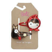 Sati Little Red Riding Hood with Wolf Hair Clips for Girls