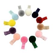 20Pcs Cute Fur Ball Alligator Hair Clips Barrettes Hair Accessories for Toddlers Kids Baby Girls, Random Colour