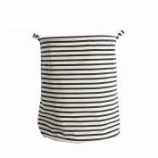 Maplewel Storage Basket ,Folding Cylindric Waterproof Coating Canvas Fabric Laundry Hamper with Drawstring Cover, Collapsible Toys Storage Box / Kids Laundry Basket / Nursery Hamper