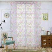 Window Curtain, Panels, Floral Voile Sheer Tulle Curtain for Living Room Bedroom Kitchen by TTnight