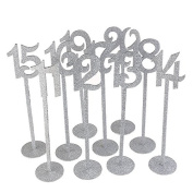 10pcs 11 to 20 Wooden Wedding Table Numbers with Sturdy Holder Base for Party Home Decoration