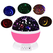 Night Lights for Children Birthday and Christmas Gifts,Rotation Night Projection LED Night Lamp,Four Colour Transformation Sleep Light,Starlight Powered by Battery or USB Cable-Pink