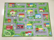 City Street Map Kids' Rug With Roads Kids Rug play mat with School Hospital Station Bank Hotel Book Store Government Workshop Farm for Boy Girl Nursery Bedroom Playroom Classrooms