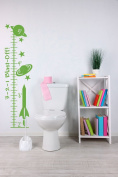 Blast Off Rocket Growth Chart Vinyl Decals Boys Wall Decor Sticker Art 27cm x 100cm , Lime Green