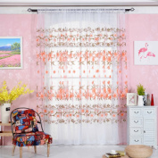 Window Curtain, Panels, Floral Tulle Sheer Door Window Screening Curtain Drape Scarf Sheer Voile Docor by TTnight