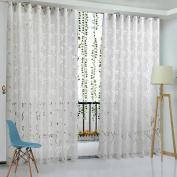 WinnerEco Floral Half Shading Cirrus Vine Leaf Partition French Window Curtain 78.74